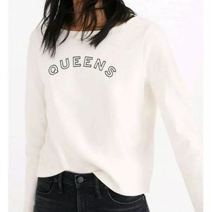 "Madewell  ""Queens"" Graphic Crop Shirt Long Sleeve"